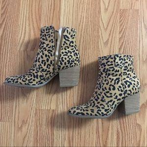 Leopard print booties